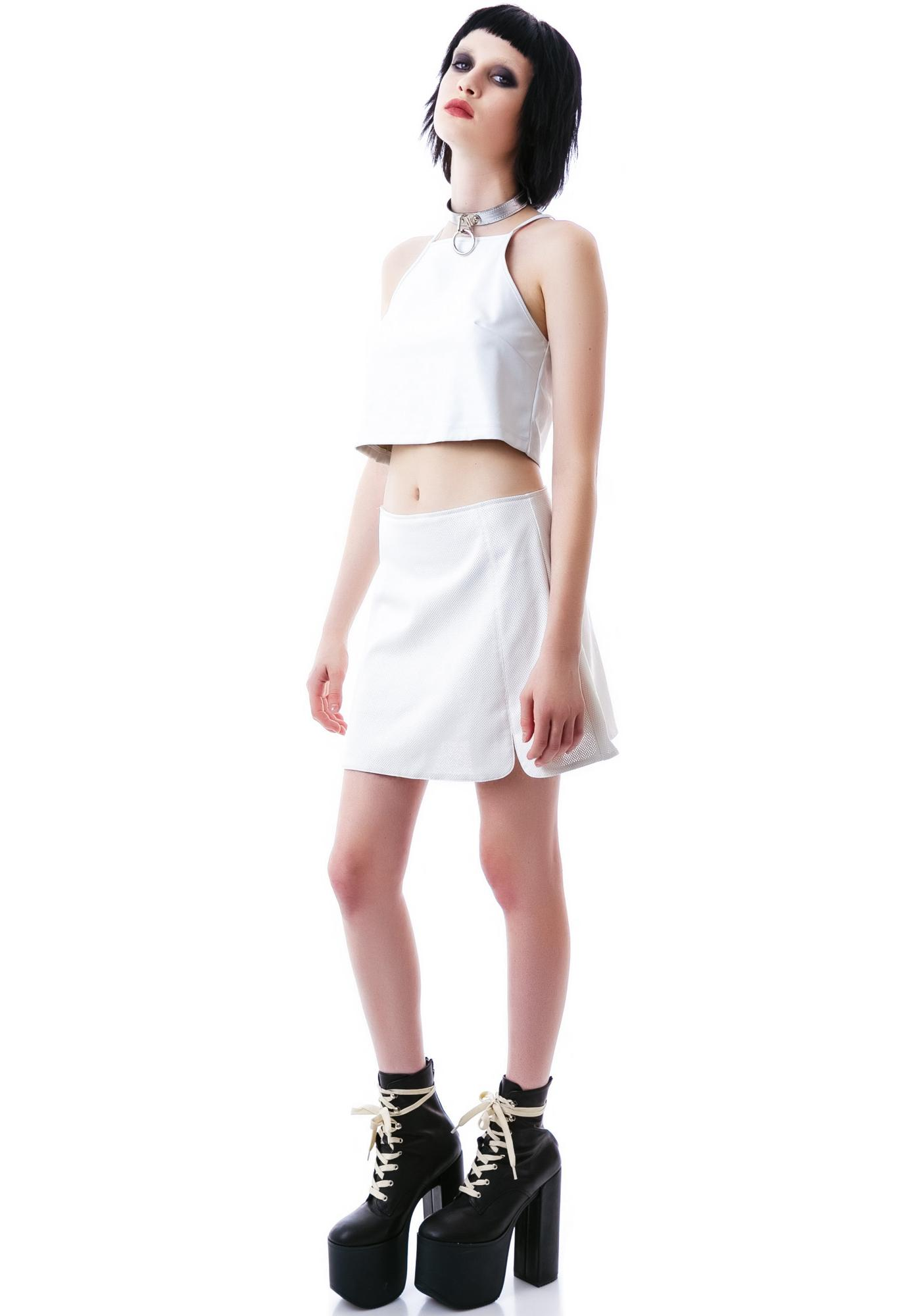 Motel Levi Perforated Crop Top