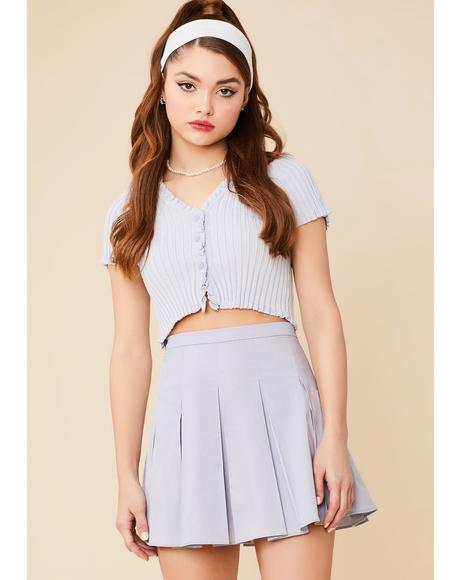 Chambray Dean's List Pleated Mini Skirt