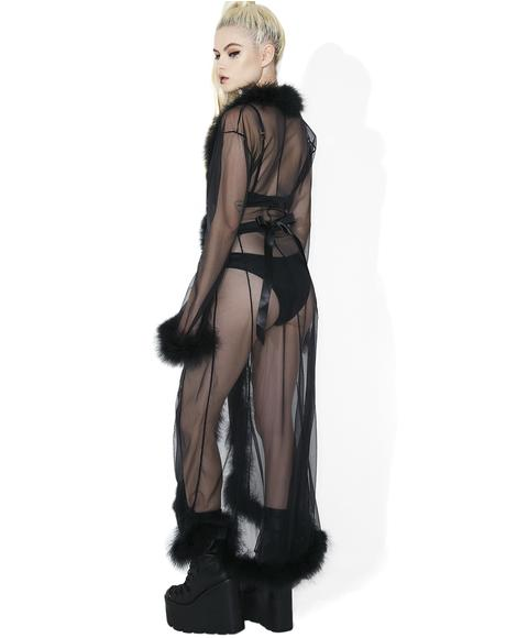 Bardot Sheer Feathered Robe