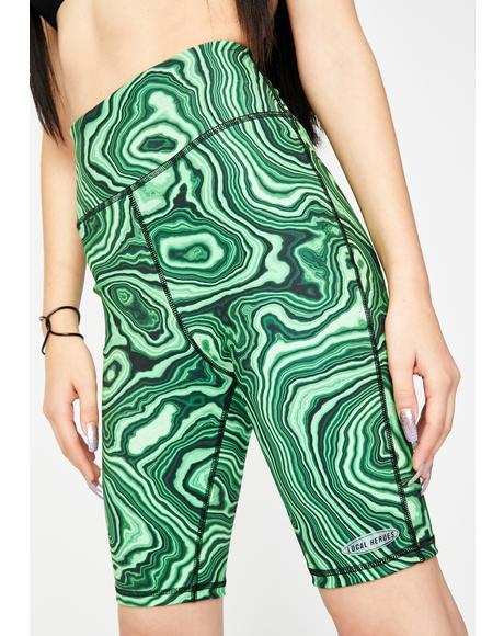 Green Printed Biker Shorts