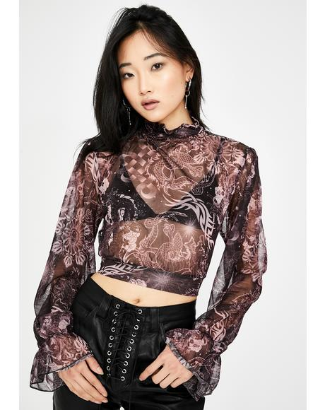 Tattoo Print Mesh Tie Crop Top