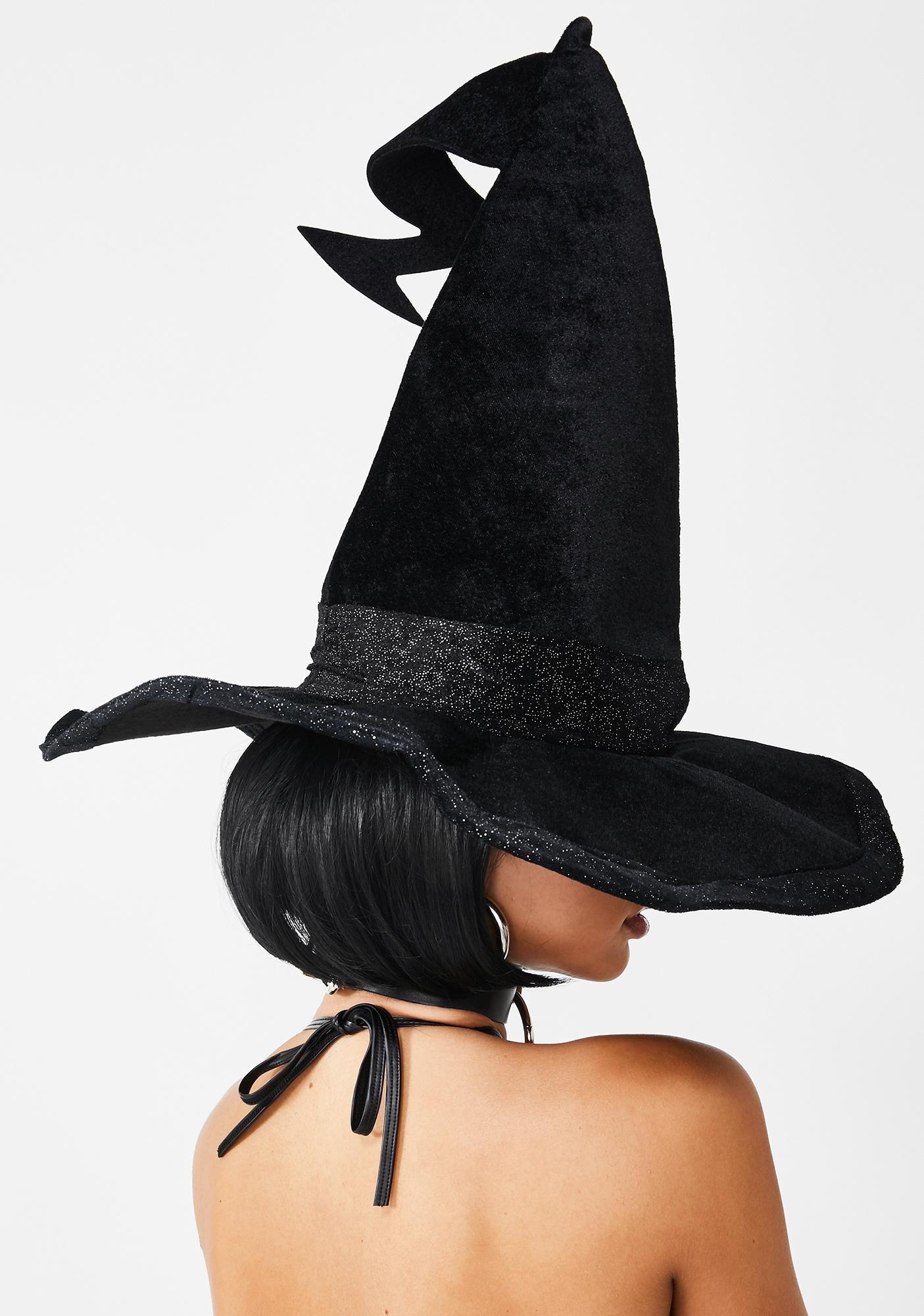 Hallow-Queen Velvet Witch Hat