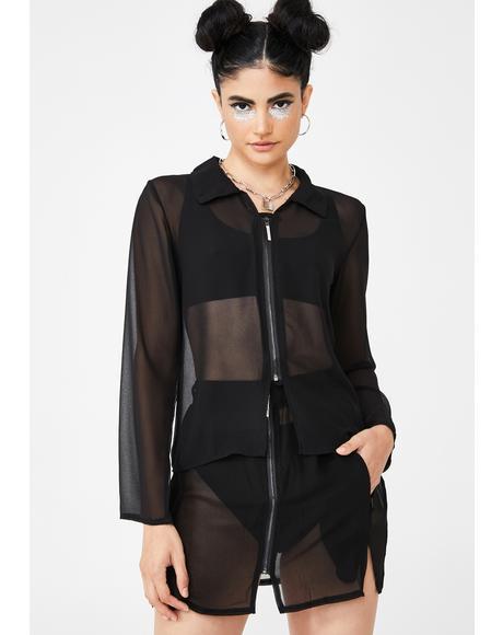 Sheer Blouse N' Skirt Set