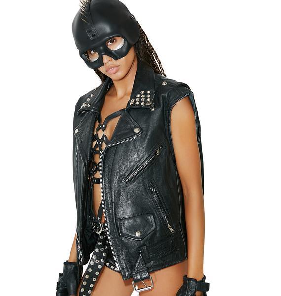 Vintage Leather Moto Vest