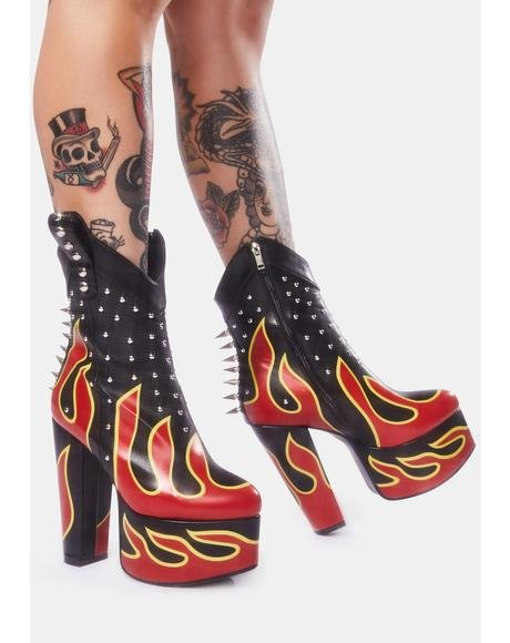 Pedal To The Metal Flame Platform Boots