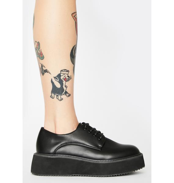 Koi Footwear Black Platform Oxford Sneakers