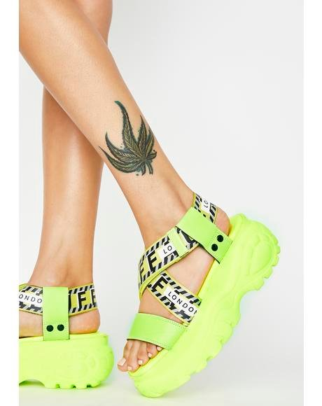 Neon Yellow Bo Platform Sandals