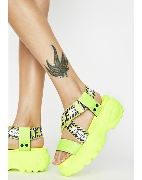 Neon Yellow Bo Platform Sandals