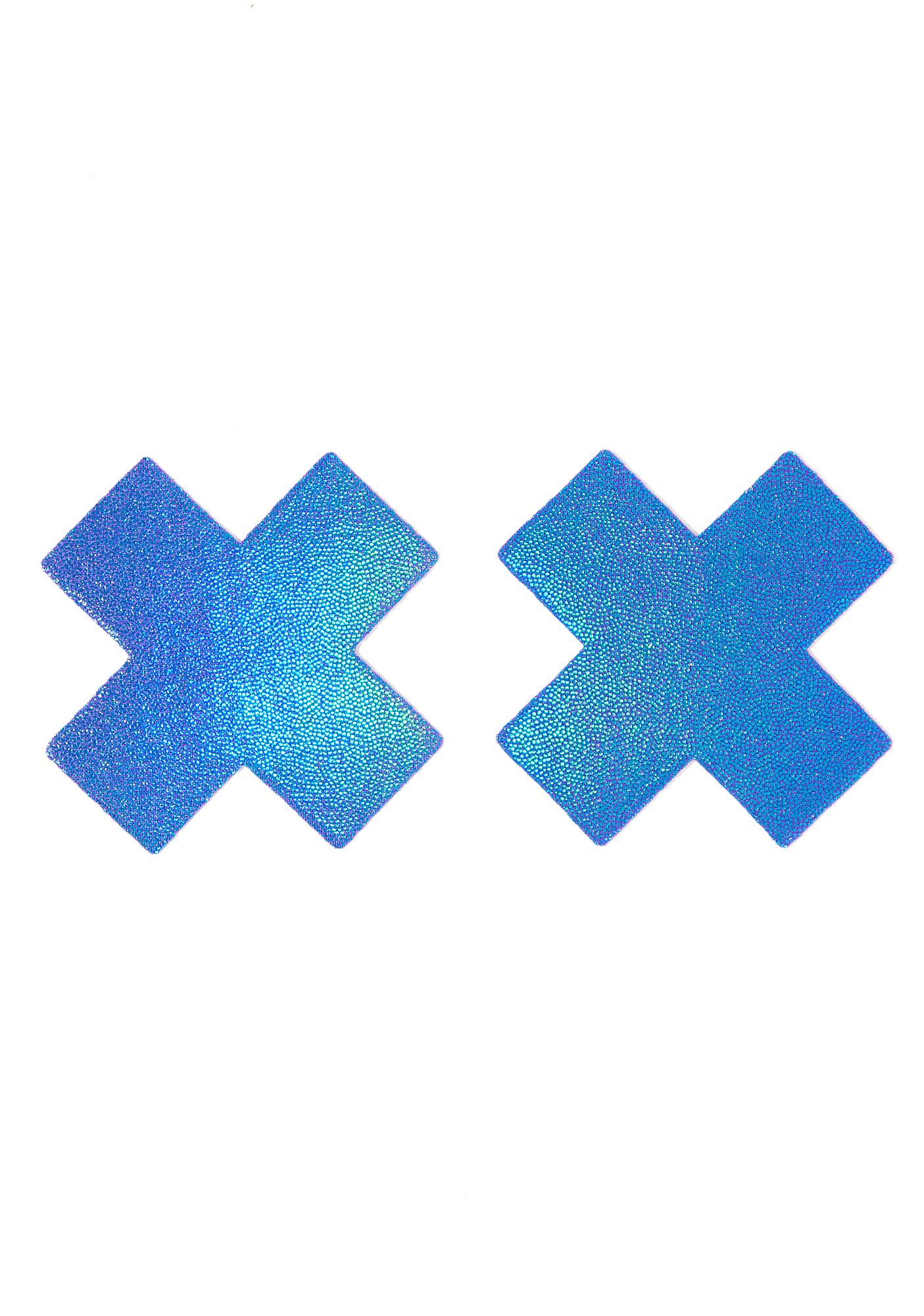 Pastease Shiny Blue Cross Pasties