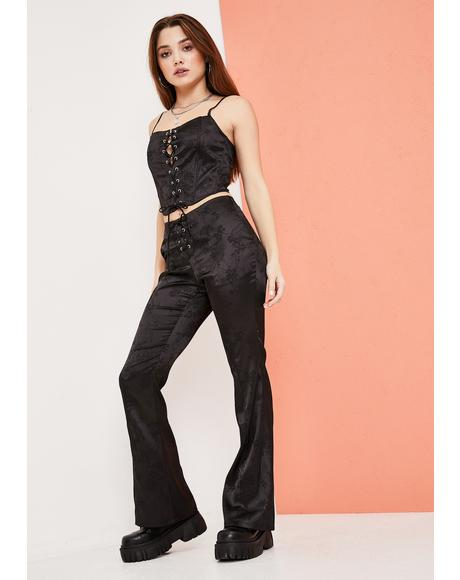 Slick Should Be Dancing Floral Satin Lace Up Pants