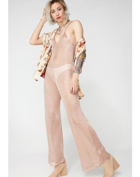 Dusty Rose Sheer Jumpsuit