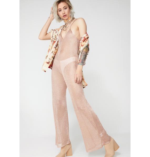 Dusty Rose Sheer Jumpsuit