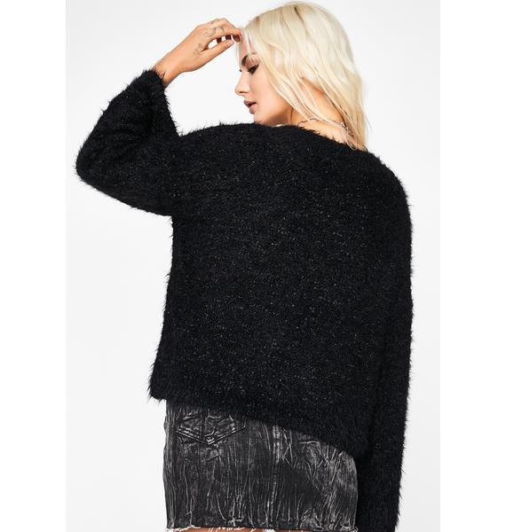 Dark Warm Thoughts Fuzzy Sweater