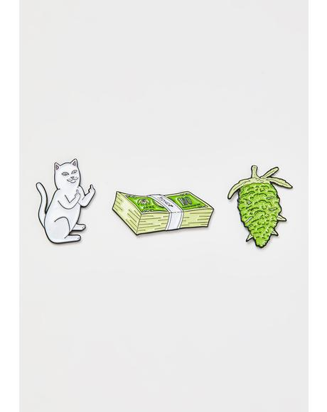 Pu$$y Money Weed Enamel Pins