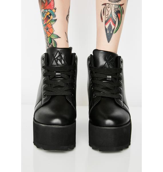 Y.R.U. Lala Hi Black Platform Sneakers