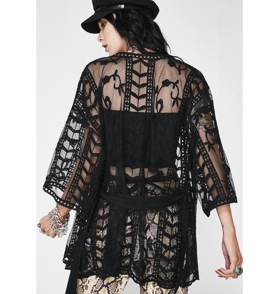Night Rhythm State Sheer Kimono