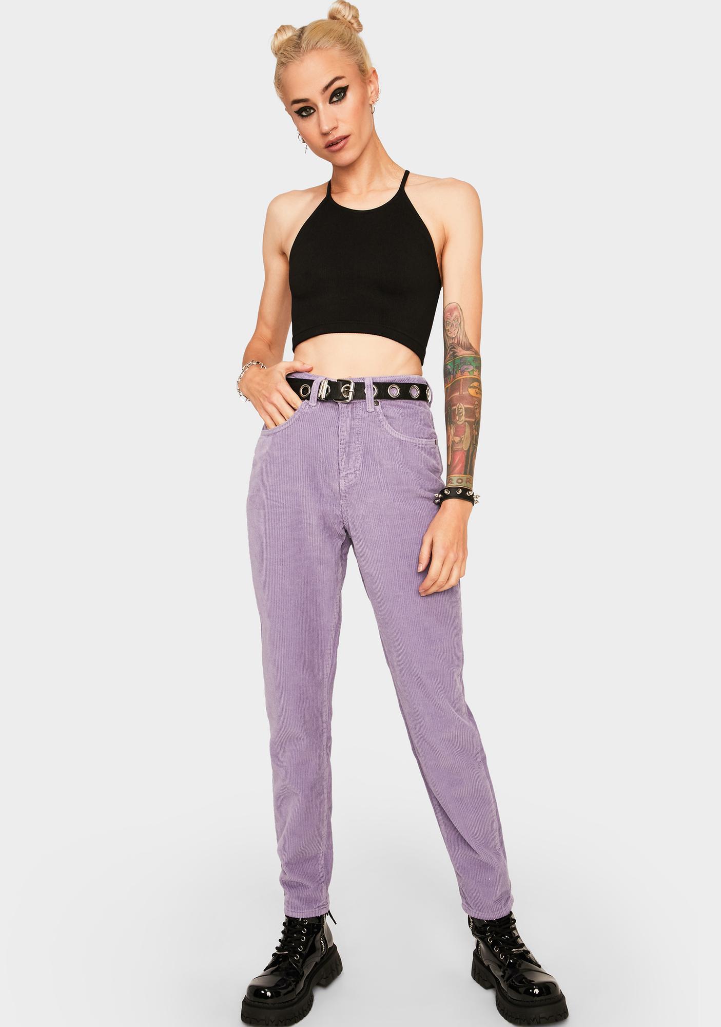 The Ragged Priest Purple Cord Mom Jeans