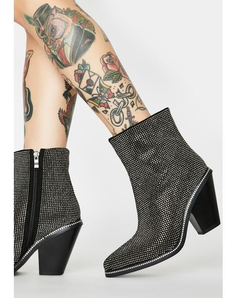 Pretend You Don't Care Rhinestone Booties