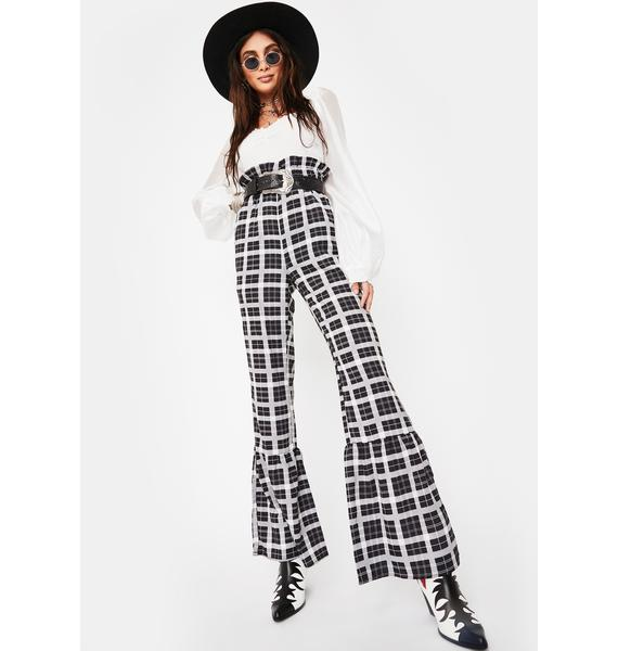 Ebonie N Ivory Flounce Hem Trousers