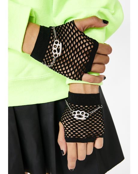 Bold N' Brass Fishnet Gloves
