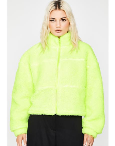Fluorescent Fluff Up Sherpa Jacket