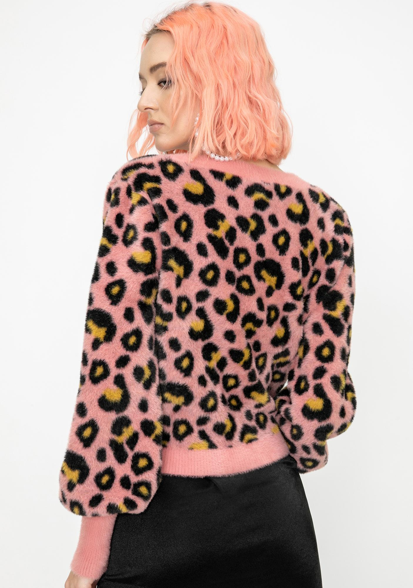 For Love & Lemons Angelina Leopard Cropped Cardigan