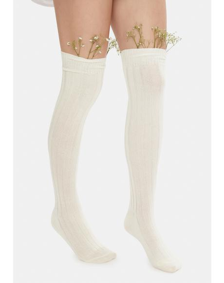 Ivory At Peace Knit Thigh High Socks