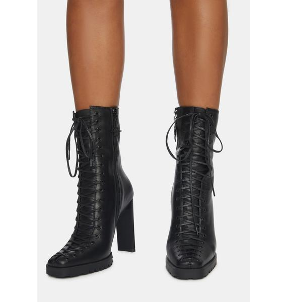 DARKER WAVS Synth Leather Lace-Up Ankle Boots