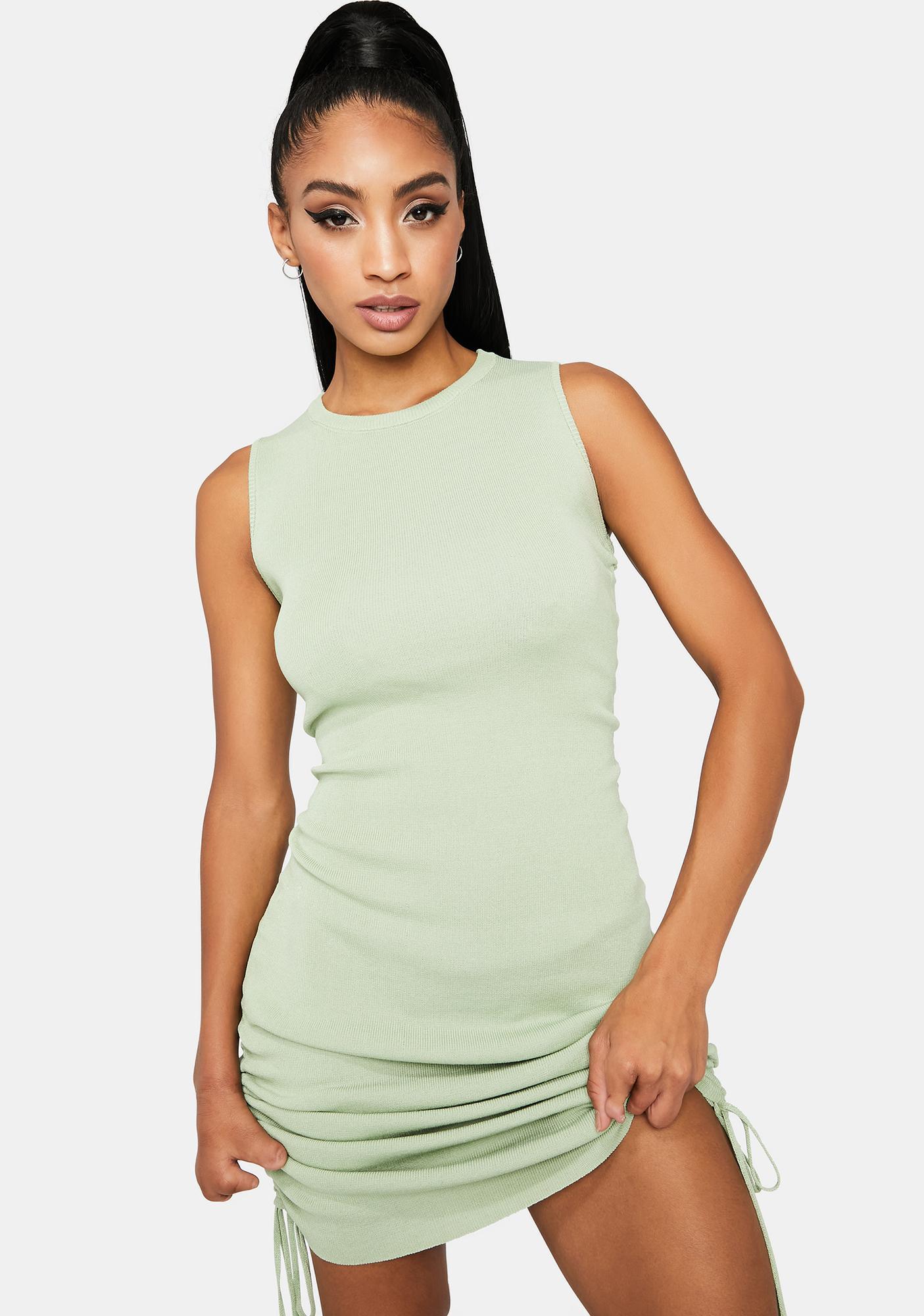 Sage Dancing Queen Knit Mini Dress