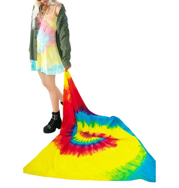 Reactive Rainbow Tie Dyed Blanket
