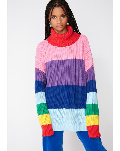 Lazy Rainbow Roll Neck Sweater