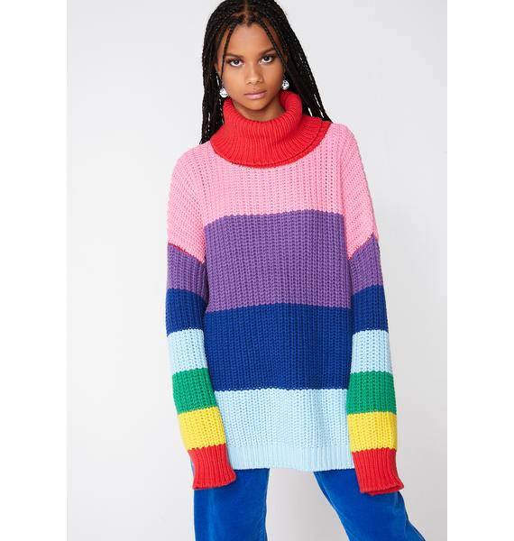 Lazy Oaf Lazy Rainbow Roll Neck Sweater