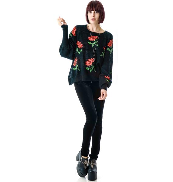 Wildfox Couture A Rose is A Rose Pfeiffer Sweater