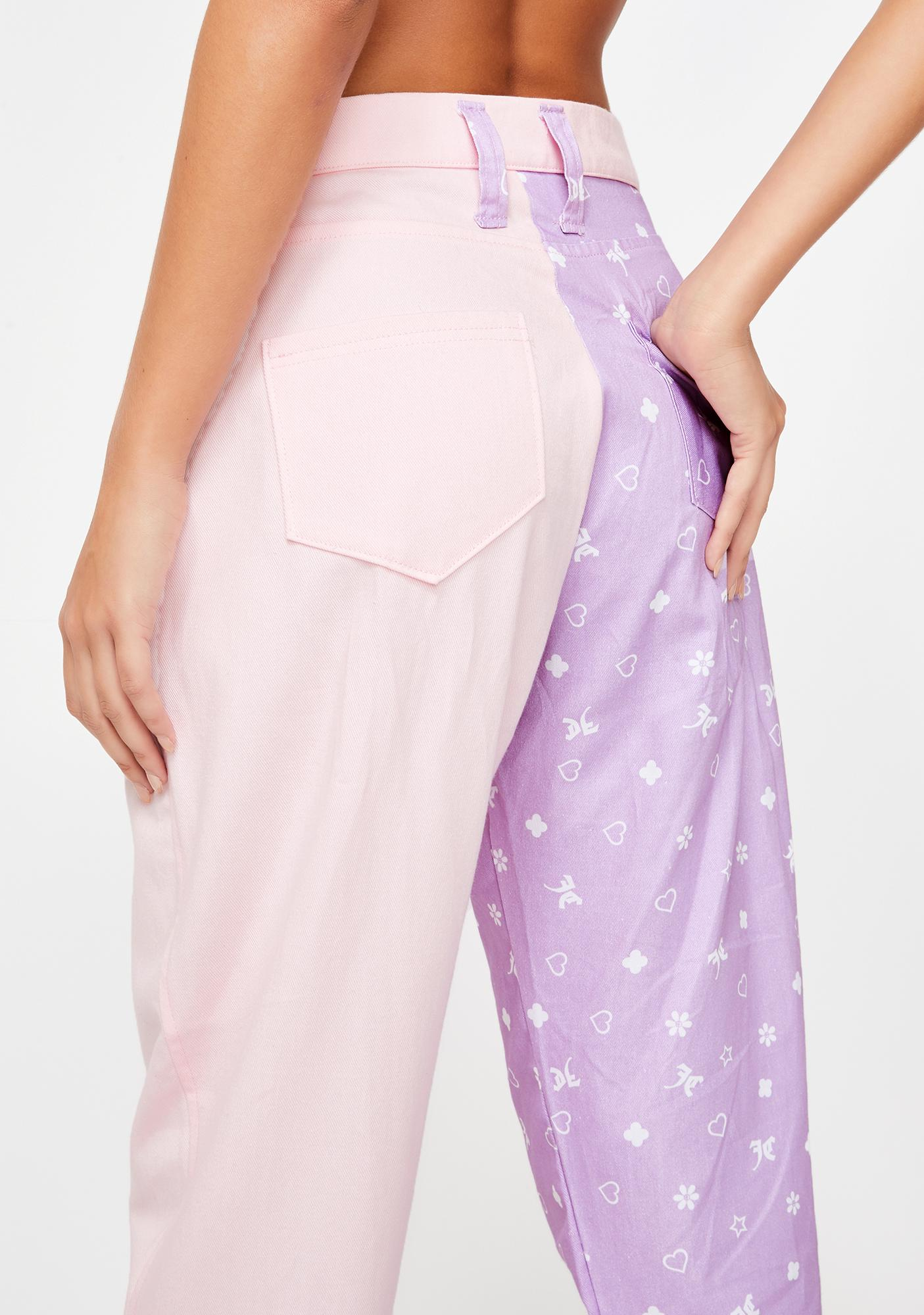 JUNGLECLUB CLOTHING Pink N' Lilac Mismatch Trousers