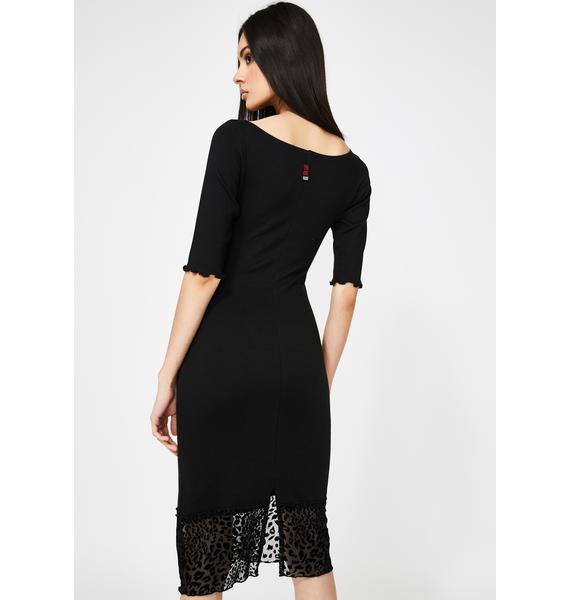 GANGYOUNG Black Li Bodycon Print Midi Dress