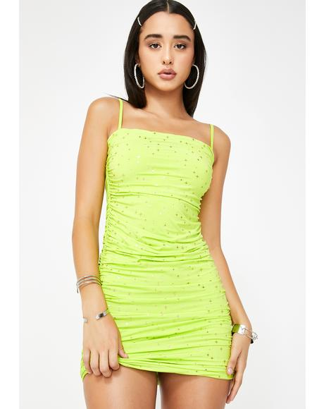 Carrie Lime Ruched Mini Dress