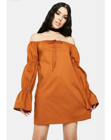 Tan Off The Shoulder Dress