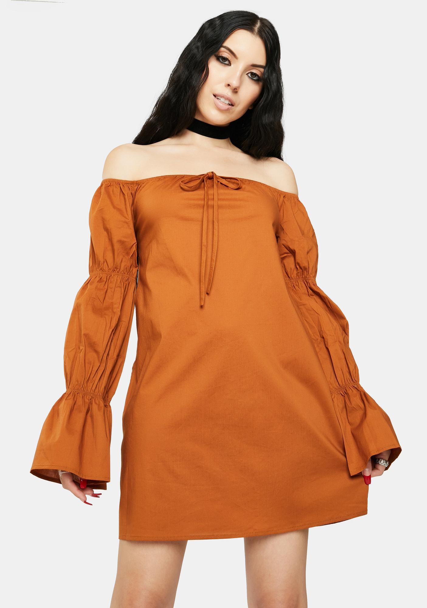 Bailey Rose Tan Off The Shoulder Dress