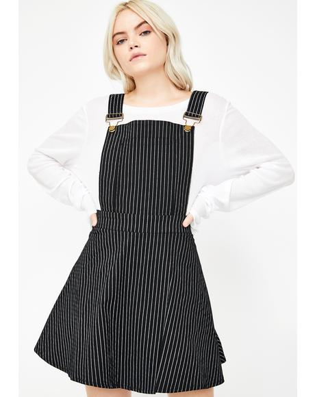 Pinstripe Overall Mini Dress