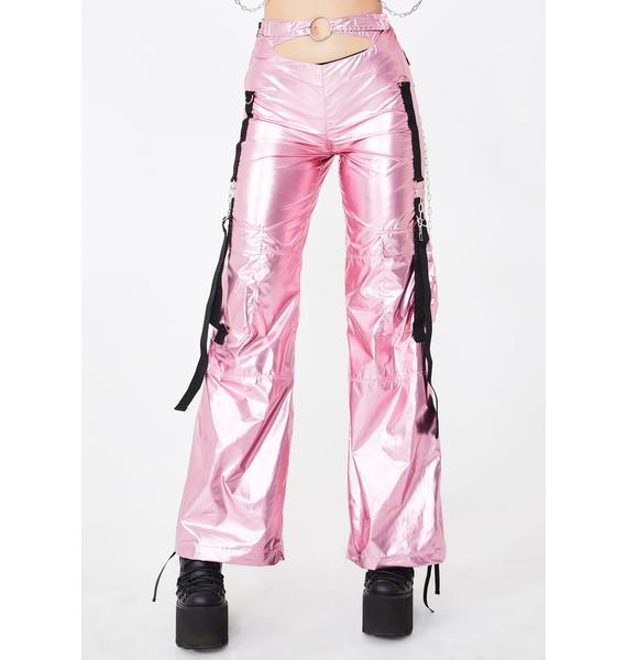 Namilia Metallic Pink Front Cut-Out Workwear Pants
