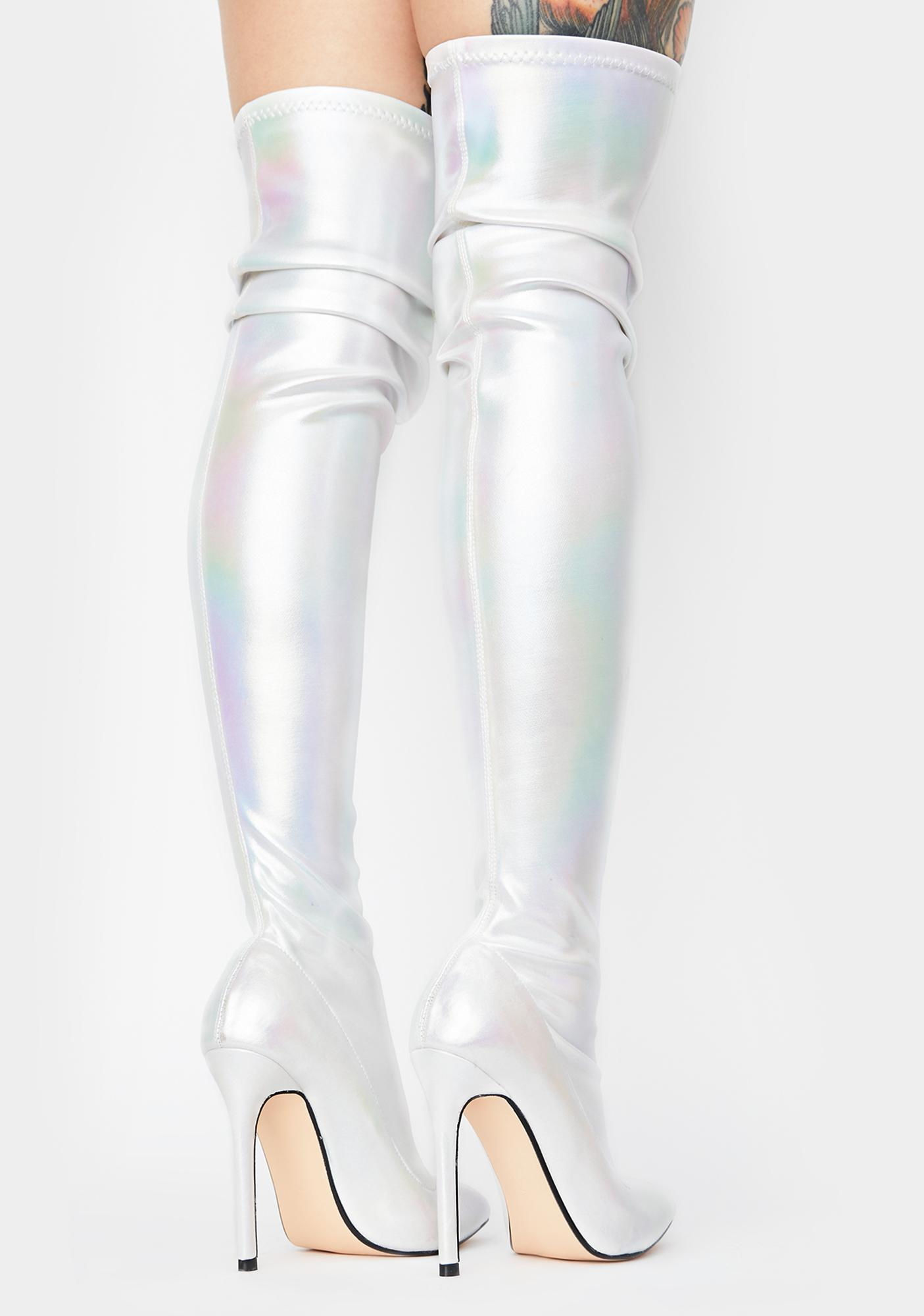 Lemon Drop by Privileged White Bravvo Thigh High Boots