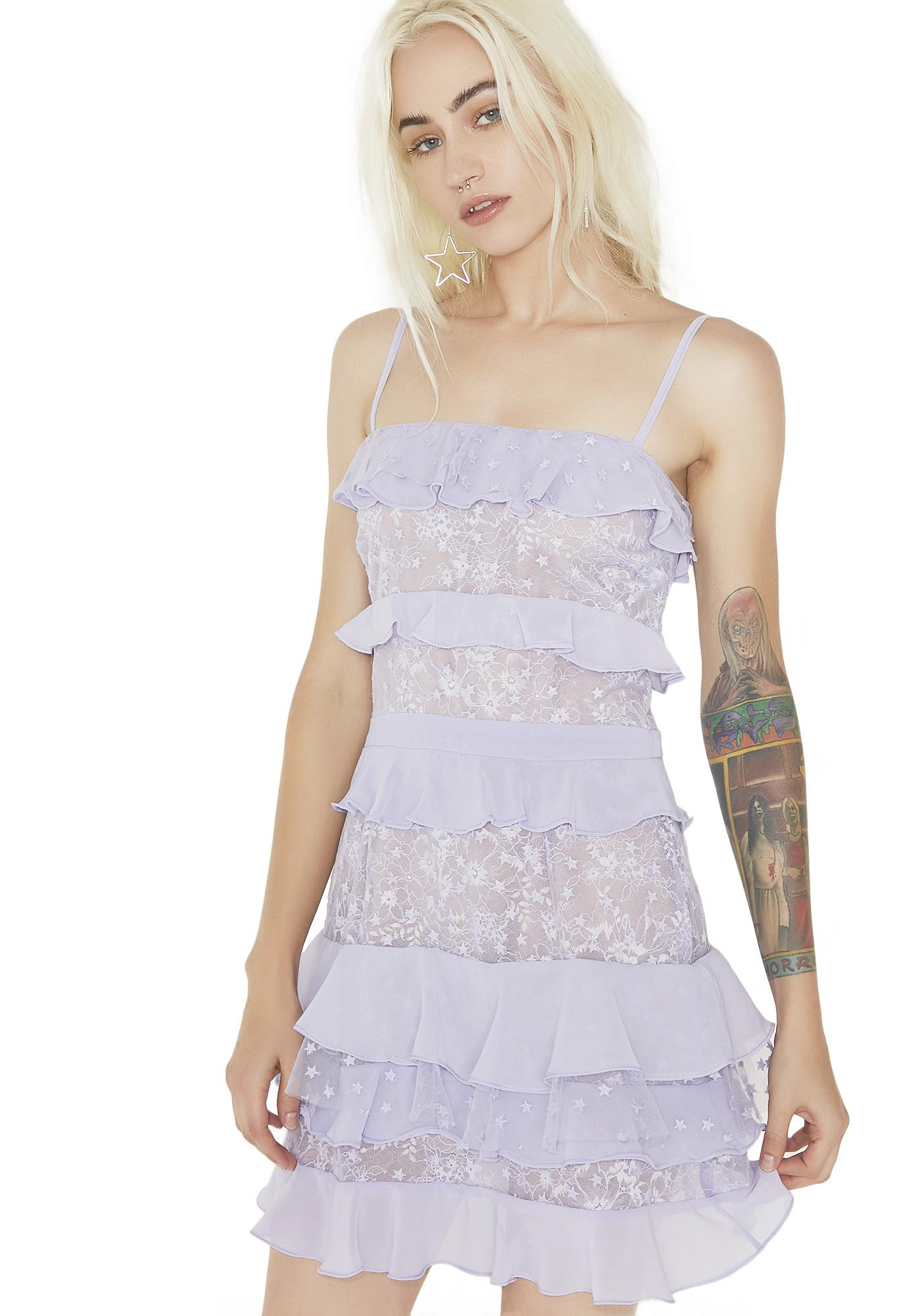 2ec0dfb4c366 For Love   Lemons Lilac Cosmic Tiered Lace Dress
