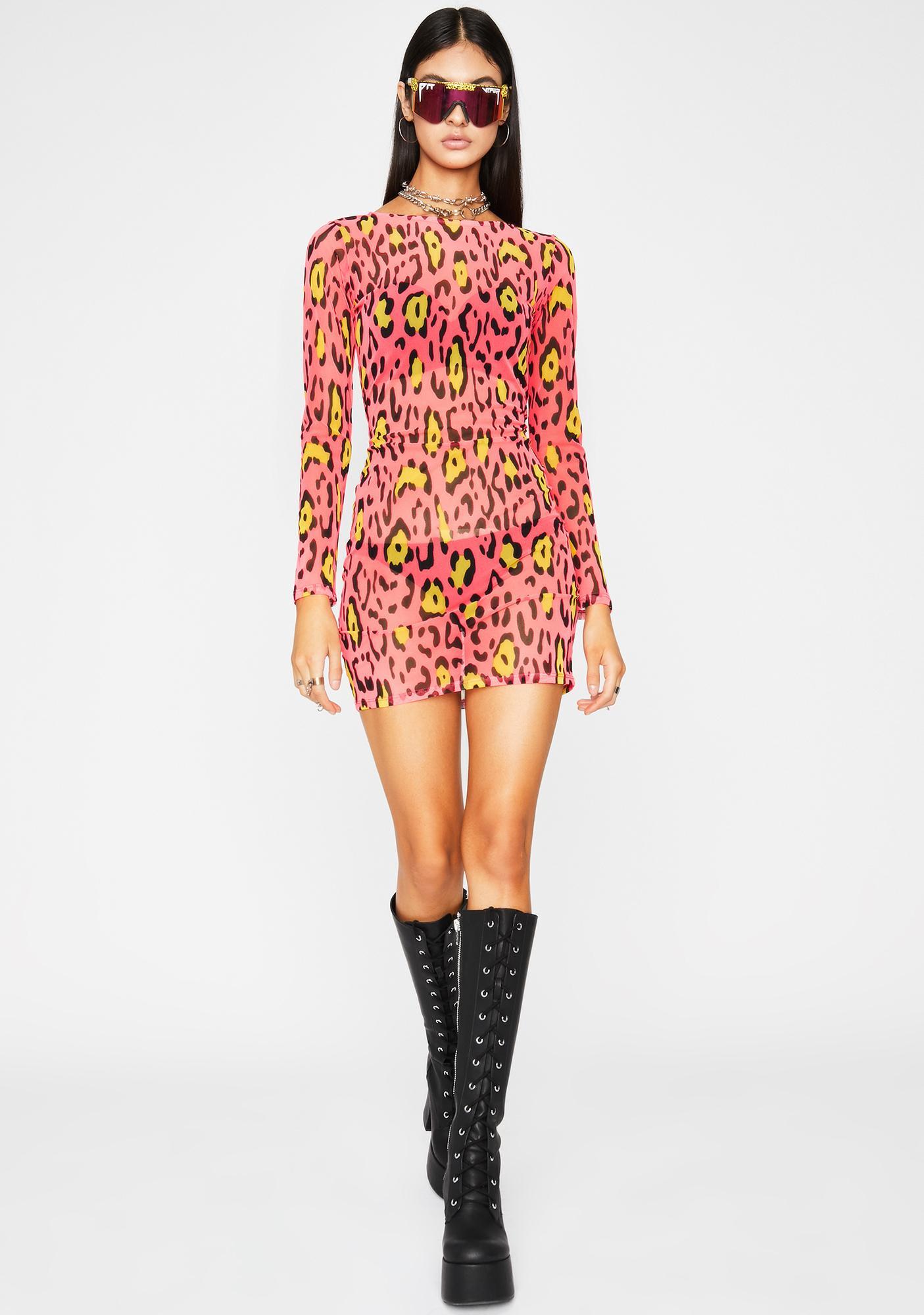 Neon Leopard Mesh Dress