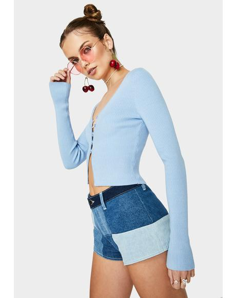 Sky Never Settle Cropped Cardigan