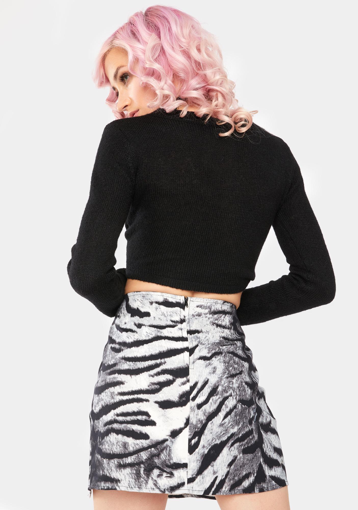Motel Silver Tiger Pelmet Mini Skirt