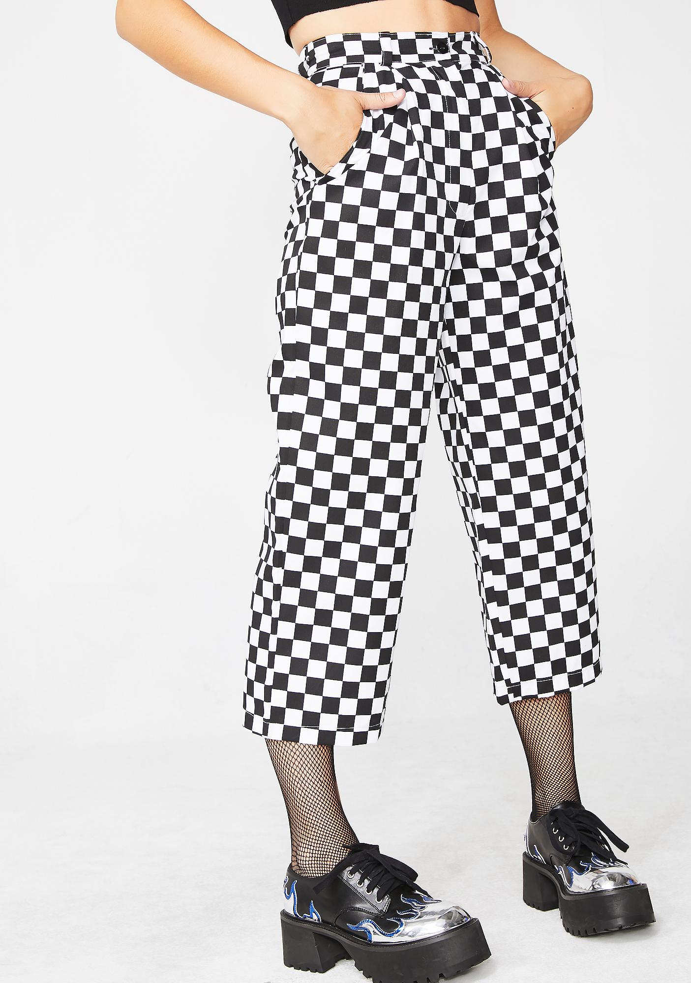LOVE TOO TRUE Checkered Wide Leg Trousers