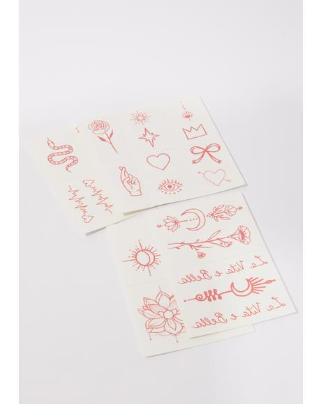 Red Ink Temporary Tattoo Pack