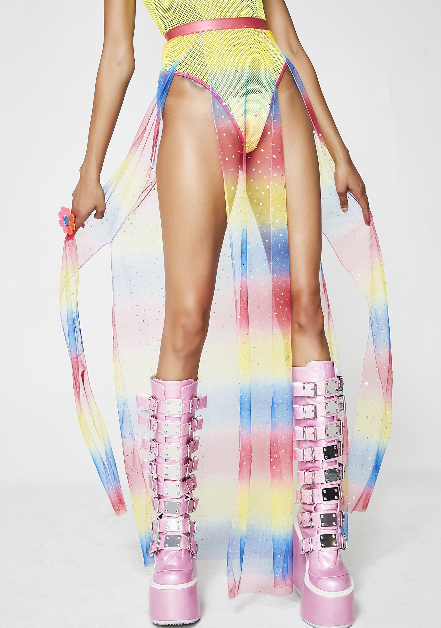 Club Exx Rainbow Brite Sheer Maxi Skirt