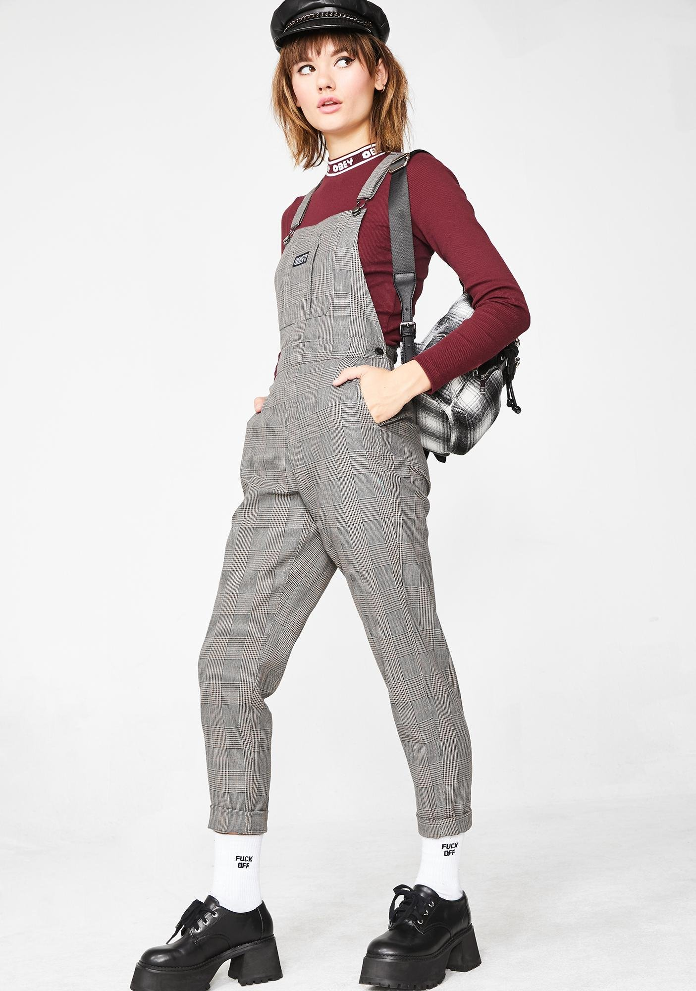Obey Ollie Plaid Overalls