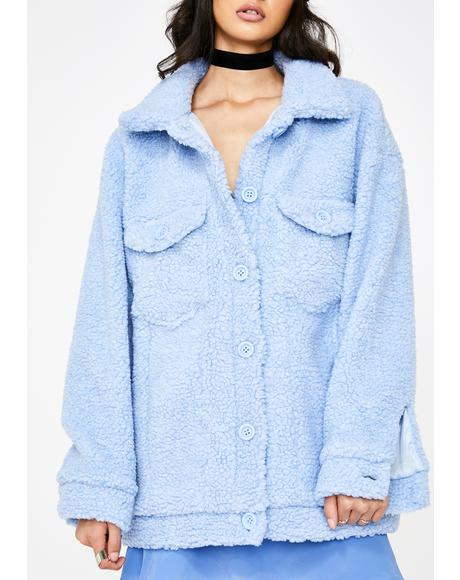 Blue Teddy Trucker Jacket